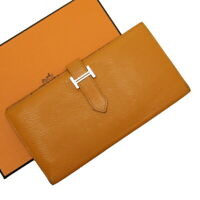 Auth HERMES C (2018) Bearn Bifold Long Wallet Orange Leather - h26649f