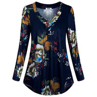 New Womens V Neck Blouse Long Sleeves Casual Floral Shirt Tops T-shirt Plus Size