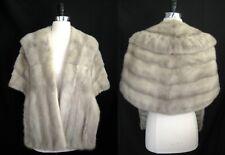 Silver MINK Fur Stole , Sapphire Vintage Bridal Shawl , Real Gray Wedding Coat