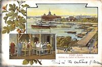 POSTCARD  EGYPT   PORT  SAID  Entrance  to  the  Canal