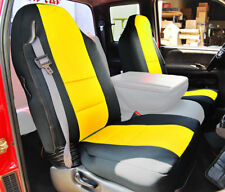 DODGE RAM 1998-2002 BLACK/YELLOW S.LEATHER CUSTOM MADE FIT FRONT SEAT COVER