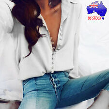 Women Casual Deep V-neck Solid Ladies Fall Long Sleeves Blouse Lapel White Shirt