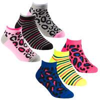 Girls 6 Pairs Animal Print Trainer Cotton Rich socks size 6-8 9-12 12-3 Age 2-10