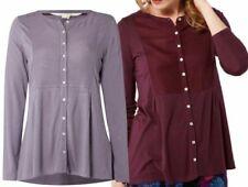Maglie e camicie da donna viola in cotone con colletto
