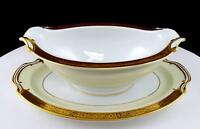 "NORITAKE JAPAN GOLDKIN FLORAL BAND 9 1/2"" GRAVY BOAT ATTACHED UNDER PLATE"