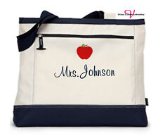 Personalized Teacher Appreciation Gifts Teacher Tote Bag Monogram Handbag Zipper