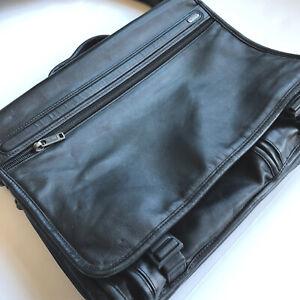 Tumi Laptop Bag Black Leather Expandable