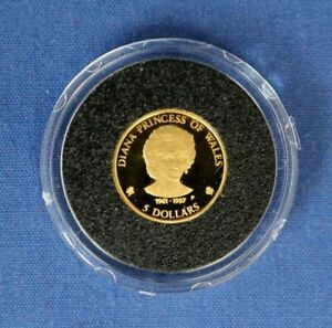 """1997 Cook Islands 1/25oz Gold coin """"Princess Diana"""" in Capsule with COA"""