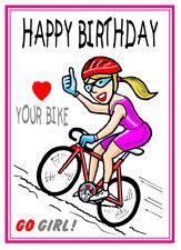 GIRL/LADIES CYCLIST CYCLING BIKE CARTOON BIRTHDAY CARD FREE POST 1ST CLASS