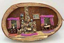 Vintage Primitive Cabin Interior Diorama Wall Folk Art Birch Bark Handmade OOAK