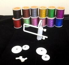 Metallic Thread Package of 12 Colours Plus Thread Spool Director