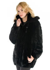 Zippered Hooded Real Mink Fur Coat Jacket with Hood Black Parka Sculptured Mink