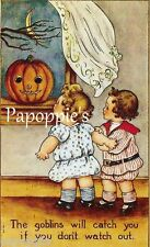 Fabric Block Vintage Halloween Postcard Image Pumpkin Goblins will Catch You
