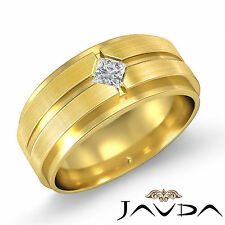 Princess Diamond Mens Solitaire Wedding Band 18k Yellow Gold 10.5mm Ring 0.25Ct