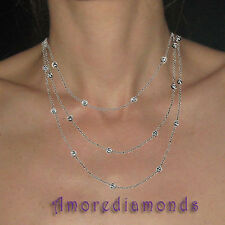 3.36 ct F SI diamonds by the yard necklace 14k white gold 24 diamonds 48 inches
