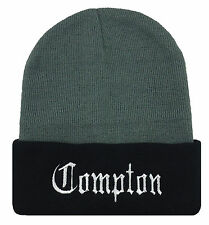 NEW COMPTON EMBROIDERED CUFFED BEANIE CAP HAT GRAY/BLACK