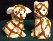 CALICO DOG AND CAT SALT AND PEPPER SHAKERS BRAYTON LAGUNA POTTERY