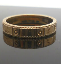 Gold plated sterling silver patterned band ring with 925 stamp