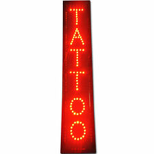"32x6"" Vertical Red Tattoo ink tip Parlor Shop Led Business Store Open Sign neon"