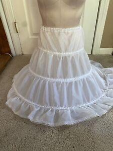 """VTG Square Dance Hoop Skirt Petticoat  White Med. 25""""-46"""""""