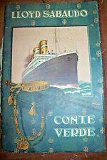 LLOYD SABAUDO - CONTE VERDE- LISTA PASSEGGERI -BROCHURE viaggio da Genova 1927