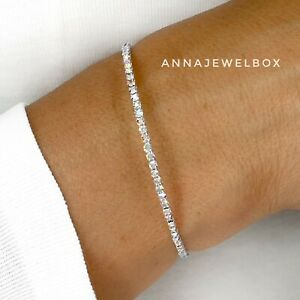 Silver Iridescent CZ Cubic Zirconia Diamante Tennis Bracelet Christmas Gift UK