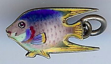 HALLMARKED ANTIQUE 925 STERLING SILVER ENAMEL ANGELFISH FISH CHARM