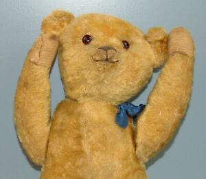 """ANTIQUE Mohair TEDDY BEAR Well Loved 22"""""""