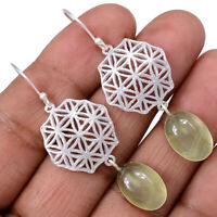 Prehnite 925 Sterling Silver Earrings Jewelry AE100293 121R