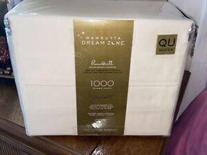 Wamsutta Dream Zone PimaCott 1000 TC Supima Cotton QUEEN Sheet Set Solid Ivory