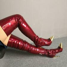 Women's Red Pointed Toe Thigh-High Boots Stiletto High Heel Shoes Patent Leather
