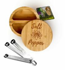 Bamboo Salt & Pepper Dual Box with Measuring Spoons