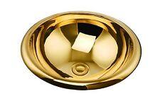 MODERN COPPER ROUND UNDERMOUNT HAMMERED BATHROOM SINK BASIN GOLD COLOUR