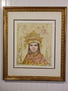 Vintage Pencil Signed Edna Hibel Lithograph Oriental Daydream limited Ed 382