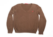 CAROLINA HERRERA Chocolate Brown Lightweight Long Sleeve Knit Sweater MEDIUM