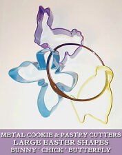 3 METAL COOKIE CUTTERS BUNNY BUTTERFLY CHICK storage ring PASTRY BISCUITS Easter