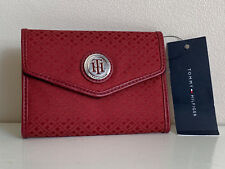 NEW! TOMMY HILFIGER RED MEDIUM FRENCH TRIFOLD CLUTCH WALLET $35 SALE