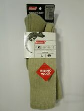 Coleman Merino Wool Outdoor Hiking Camping Socks *2 Pack* Med Brown Exponent