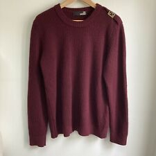 LOVE MOSCHINO Jumper Size XL (Suited To Size L) Burgundy Ribbed Wool Blend