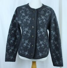 Tally Ho Womens Gray Embroidered Wool Blend Button Down Cardigan Sweater Size M