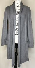 J Jill Pure Jill Gray Cotton Cashmere Long Open Cardigan Sweater Small Casual
