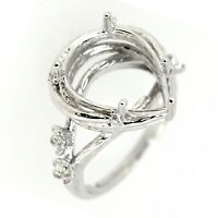 Floral Rattan Sterling Silver Semi Mount Ring Setting Pear Cut PS 11x15mm Size 7