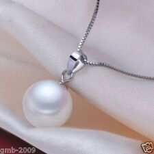 RARE 14mm Genuine Round White South Sea Shell Pearl 925S Pendant Necklace AAA
