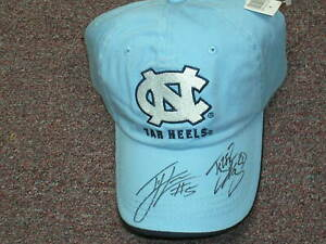TYLER HANSBROUGH & TY LAWSON Signed Basketball Hat Cap UNC Tar Heels 2009 Champs