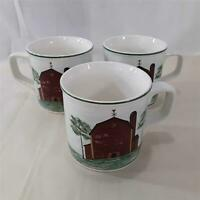 3 Tienshan Stoneware PRAIRIE 12 Oz Mugs  Red Barn Trees Farm Country Design EUC