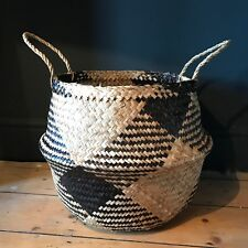extra large black natural seagrass belly basket straw planter toy laundry basket - Decorative Baskets
