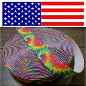 "7/8"" Tie Dye Print Grosgrain Ribbon by the Yard DIY Hair Bow Craft USA SELLER"