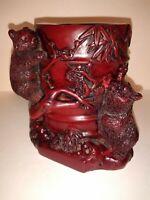 Yi Lin Arts & Treasures Of China Panda Bears Red Resin Brush Pot Pen Holder CUTE