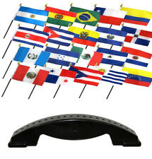 4x6 Latin American Country 20 Desk Set Table Stick Flags w/ 20 Hole Base Stand