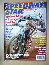 SPEEDWAY STAR,4 Sept 1993- Wolves Blow-Correy Hurt in Sweden-World Final goes on